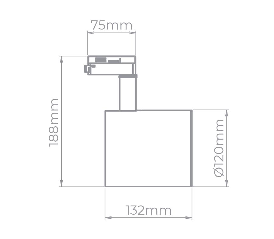 Spot Para Trilho Eletrificado Stella SD1750PTO Zylinder 1L AR111 GU10 133x188mm - Preto
