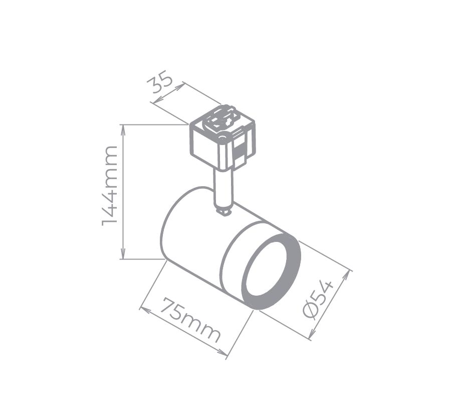 Spot LED Para Trilho Eletrificado Stella SD1800PTO/30 4W 3000K 34G Bivolt 75x144mm - Preto