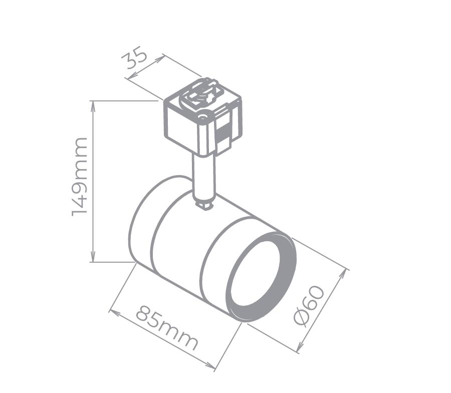 Spot LED Para Trilho Eletrificado Stella SD1805PTO/30 7W 3000K 38G Bivolt 85x149mm - Preto