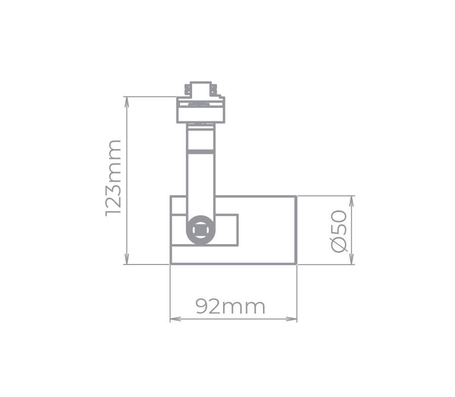 Spot Para Trilho Eletrificado Stella SD1930PTO Flow 1L Mini Dicróica MR11 GU10 92x123mm - Preto