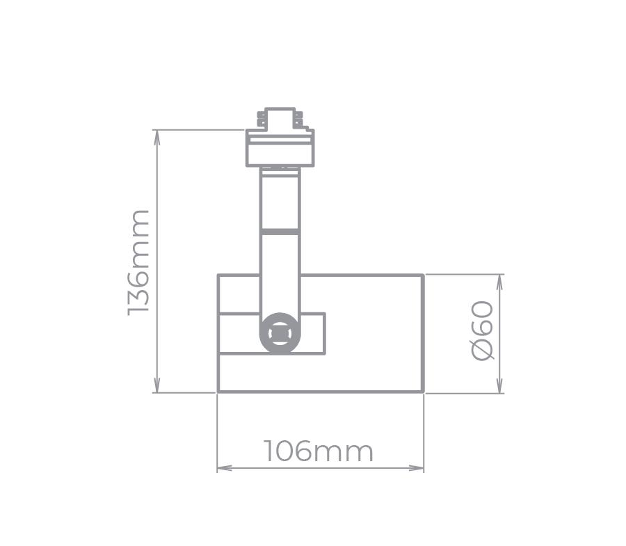 Spot Para Trilho Eletrificado Stella SD1940PTO Flow 1L Dicróica/PAR16 MR16 GU10 106x136mm - Preto