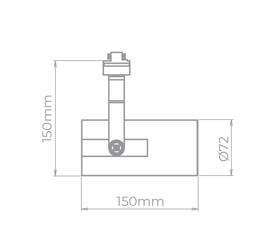 Spot Para Trilho Eletrificado Stella SD1950PTO Flow 1L E27 PAR20 150x150mm - Preto