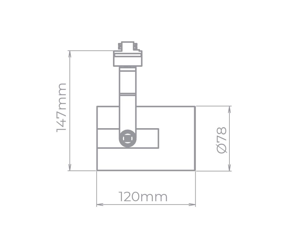 Spot Para Trilho Eletrificado Stella SD1970PTO Flow 1L AR70 GU10 120x147mm - Preto