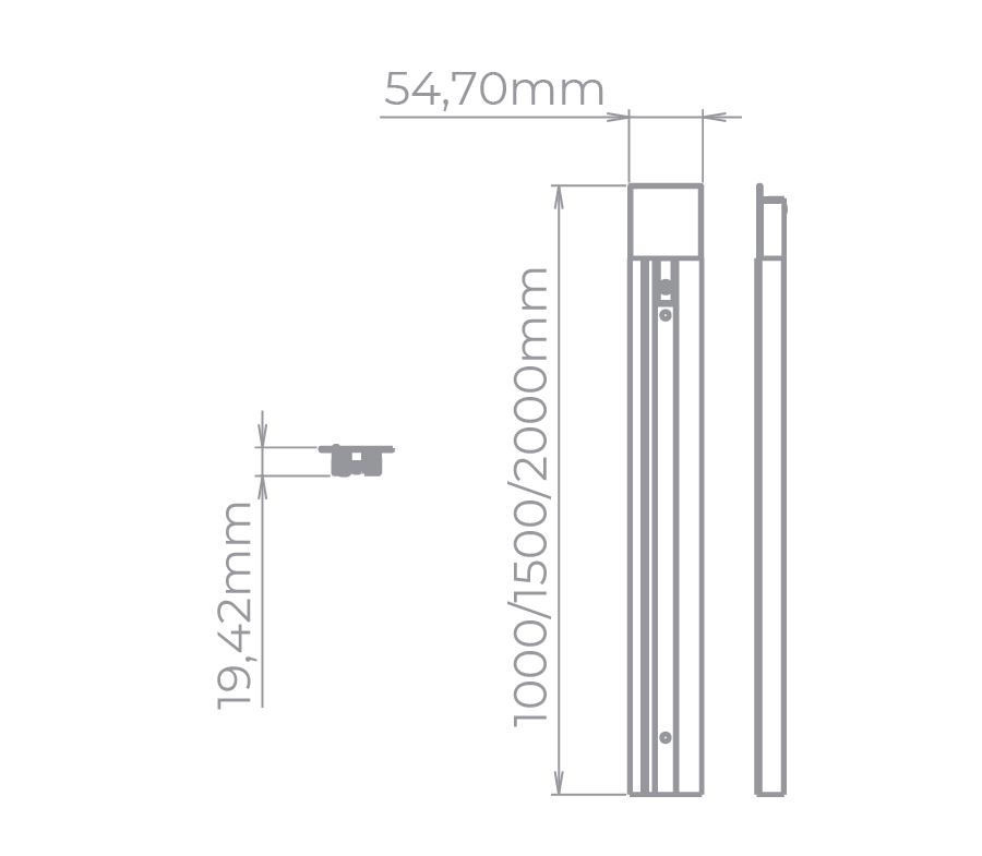 Trilho Embutir Eletrificado Stella SD1910BR 1 Metro - Branco