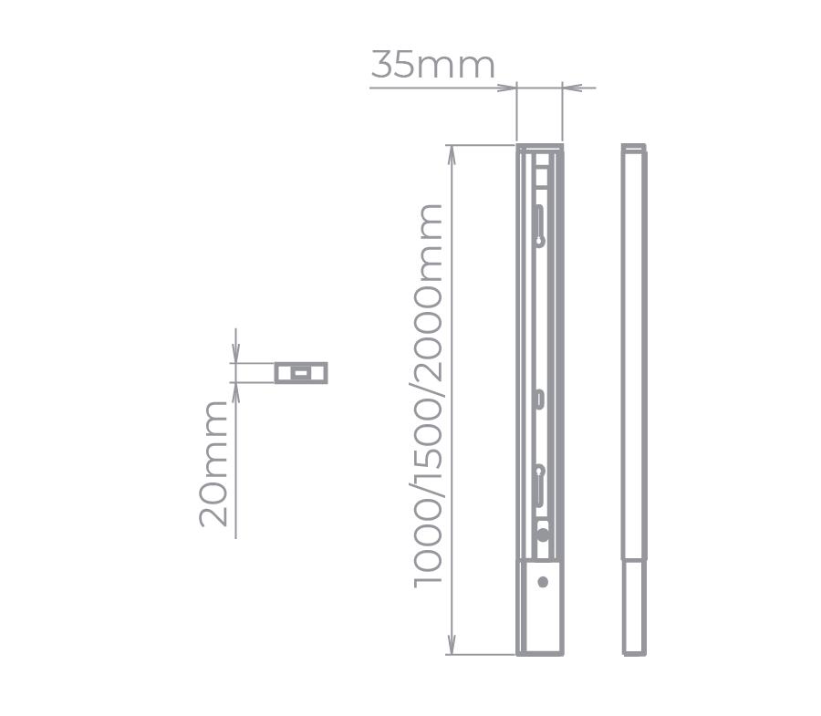 Trilho Sobrepor Eletrificado Stella SD1020PTO 2 Metros - Preto