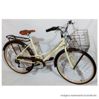 Bicicleta Retro Aro 20 Bege e Marrom