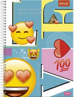 Caderno C/D 01 Materia Emoji Love Foroni