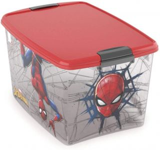 Caixa Com Trava 46 Litros Homem Aranha Plasutil