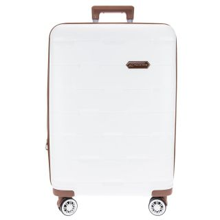 Conjunto Mala De Viagem Branca Com Contornos Em Caramelo Textura Losangos Polo King P M G
