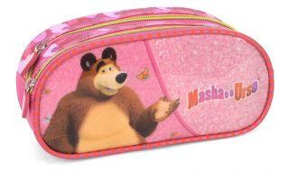 Estojo 2 Divisorias Masha e o Urso Rosa Luxcel