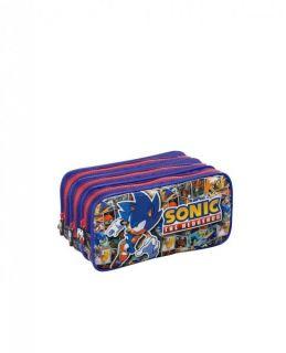Estojo 3 Divisorias Sonic Azul Foroni