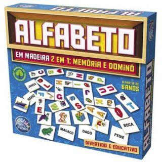 Jogo 2 Em 1 Memória E Dominó Alfabeto Em Madeira Pais E Filhos