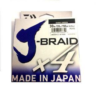 Linha Multifilamento Daiwa J-Braid X4 0,25mm 30lb 135m Verde