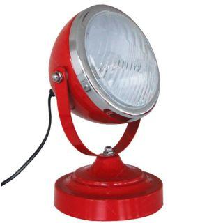Luminaria Mesa Ferro Vidro Car Front Light Vermelha Urban