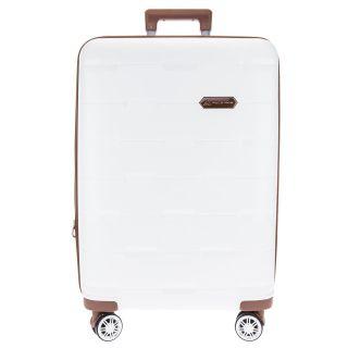 Mala De Viagem Branca Com Contornos Em Caramelo Textura Losangos Polo King - Grande