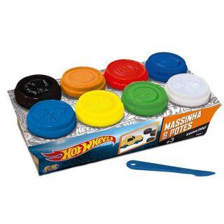 Massinha 8 Potes Hotwheels Fun