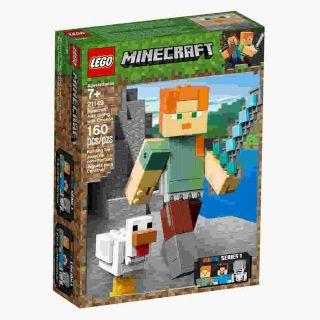 Minecraft Bigfig Alex Com Galinha 160 Peças Lego