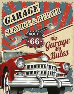 Placa Mdf 19x24cm Route 66 My Garage My Rules Litoarte