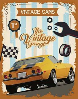 Placa Mdf 19x24cm Vintage Cars Litoarte