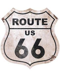 Placa Mdf 20X19cm Route Us 66 Litoarte