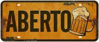 Placa Mdf 35x14,6cm Aberto Copo De Cerveja Litoarte