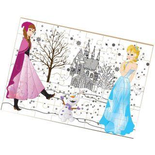 Quebra cabeca Madeira Princesa Do Gelo P/Colorir 48p Brincadeira De Crianca