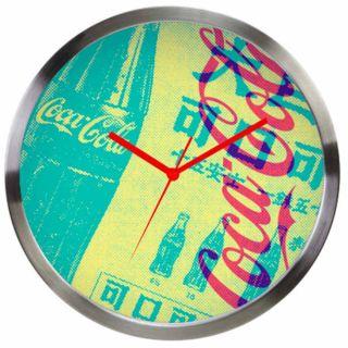 Relogio De Parede Coca Cola Metal Newspaper Amarelo Urban