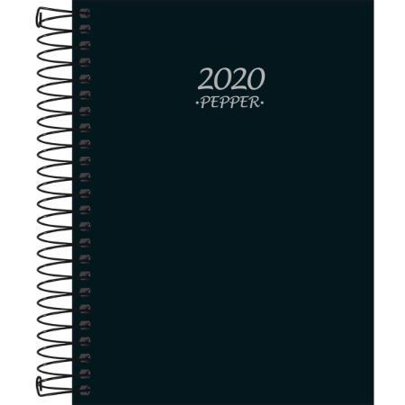 Agenda Espiral Diaria Pepper Preta 2020 Capa Dura Pautada Tilibra