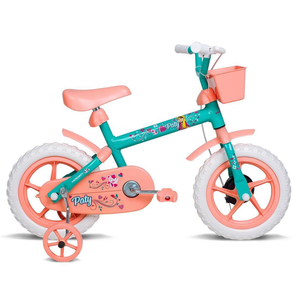 Bicicleta Aro 12 Feminina Paty Verde Com Acessorios Salmao Verden