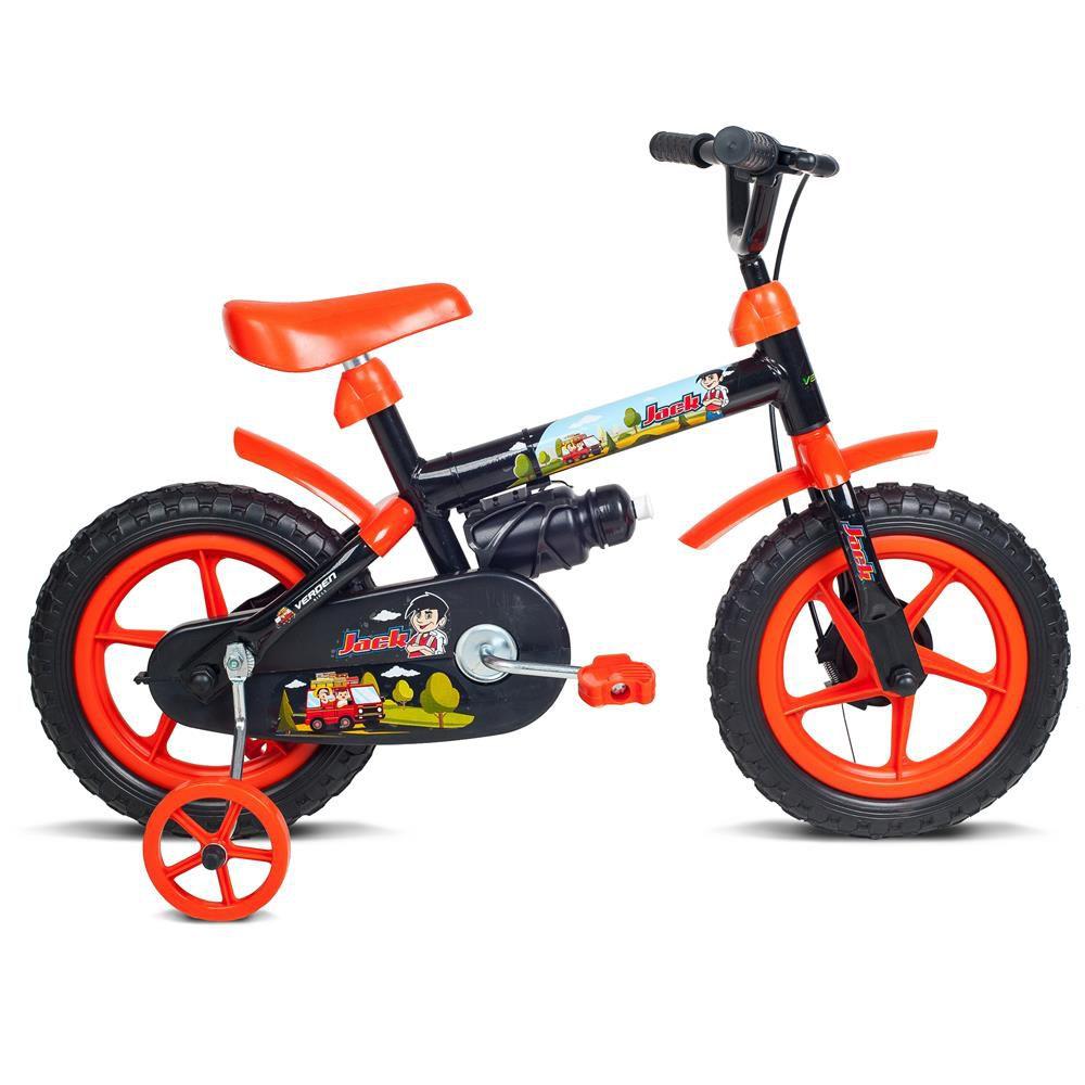 Bicicleta Aro 12 Masculina Jack Preto Com Acessorios Laranja Verden