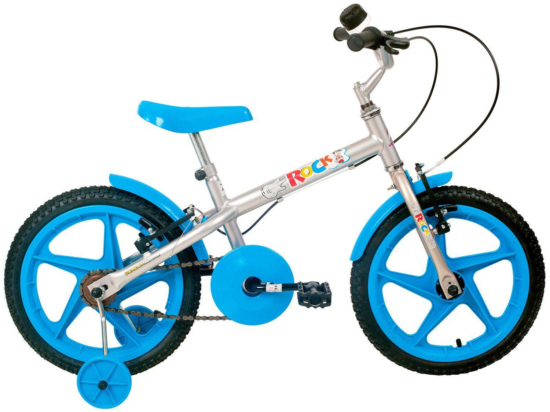 Bicicleta Aro 16 Rock Prata Com Azul Verden