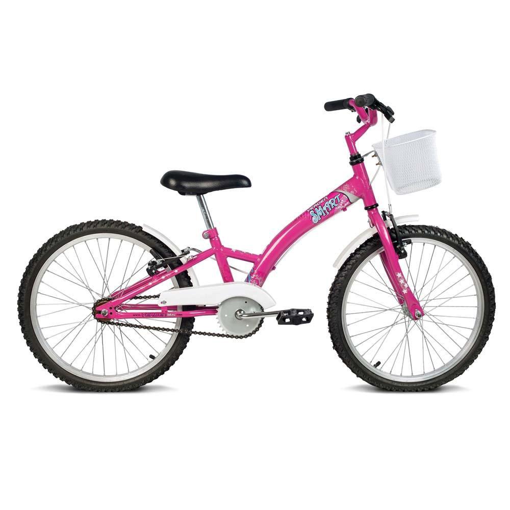 Bicicleta Aro 20  Feminina Smart Pink Com Acessorios Branco Verden