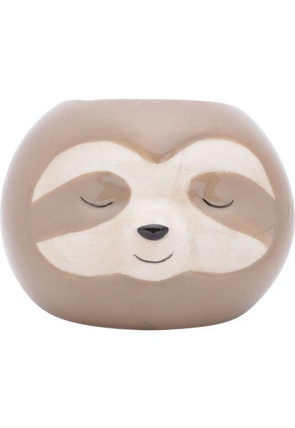 Cachepot Ceramica Floffy Sloth 8,7X7,6X6,5cm Marrom Urban