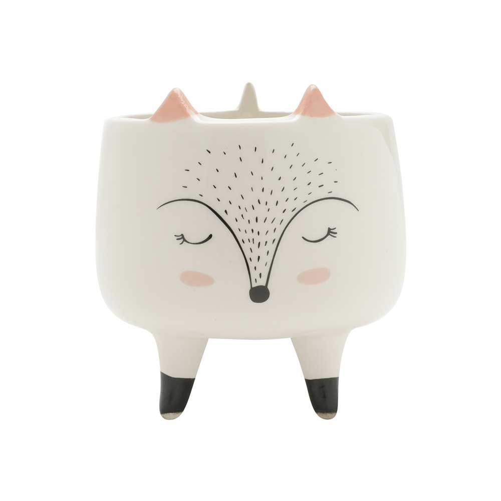Cachepot Decorativo Ceramica Sleeping Fox Branco 11,6X11,6X12,1cm Urban