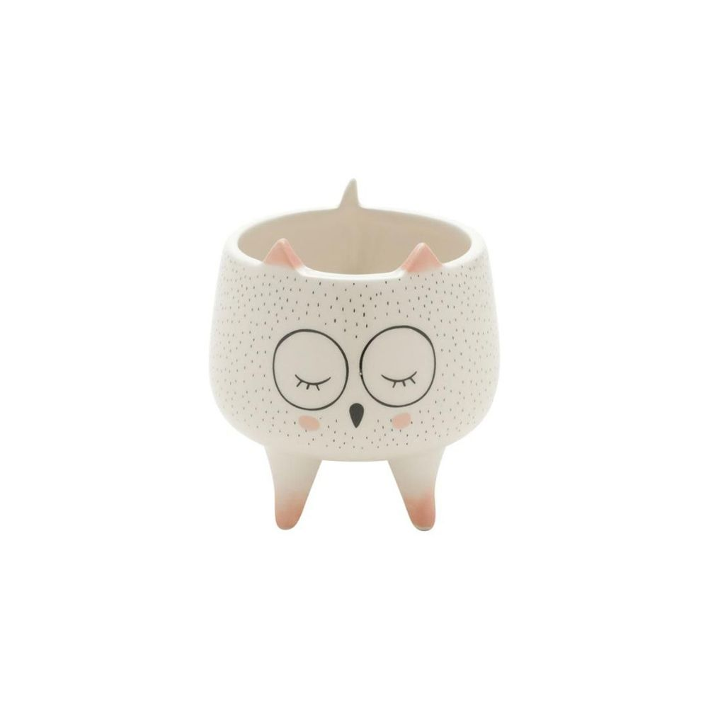 Cachepot Decorativo Ceramica Sleeping Owl Branco 8,6X8,6X9,2cm Urban