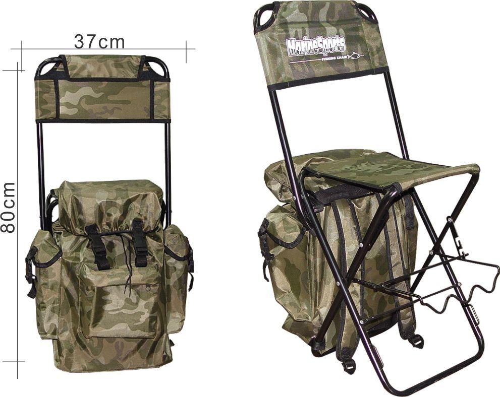 Cadeira Mochila Pesca Dobrável C/ Suporte De Vara Camuflado Marine Sports