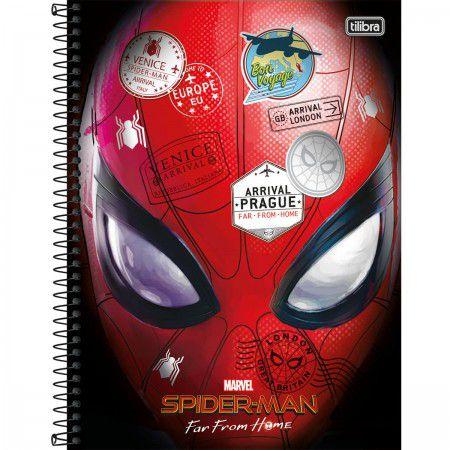 Caderno C/D 01 Materia Spider Man Homem Aranha Longe De Casa 80 Folhas Tilibra