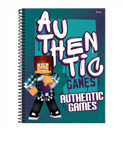 Caderno C/D 10 Materias Authentic Games 160 Folhas Foroni