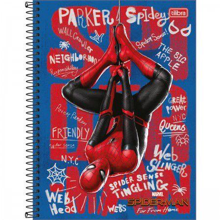 Caderno C/D 10 Materias Spider Man Homem Aranha Longe De Casa 160 Folhas Tilibra