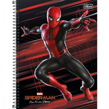 Caderno C/D 16 Materias Spider Man Homem Aranha Longe De Casa 256 Folhas Tilibra