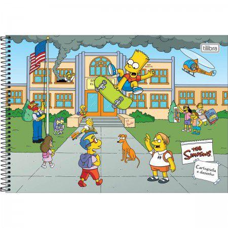 Caderno Cartografia C/D 80 Folhas Simpsons Tilibra