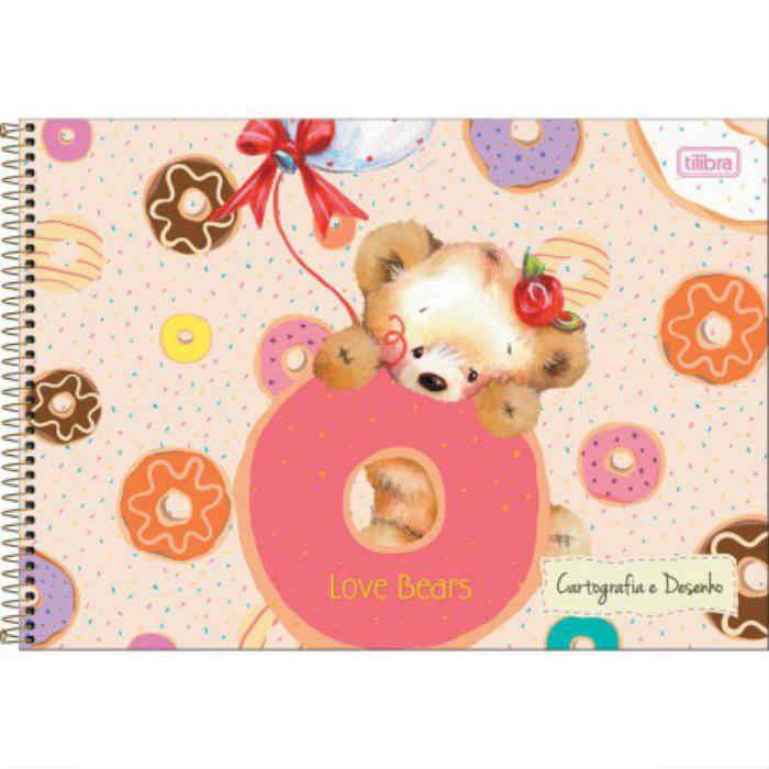 Caderno Cartografia C/D 96 Folhas Love Bears Tilibra