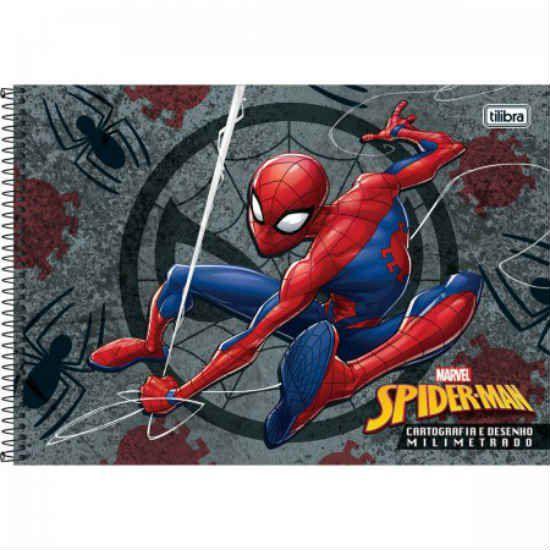 Caderno Cartografia C/D Milimetrado 96 Folhas Spider Man Tilibra