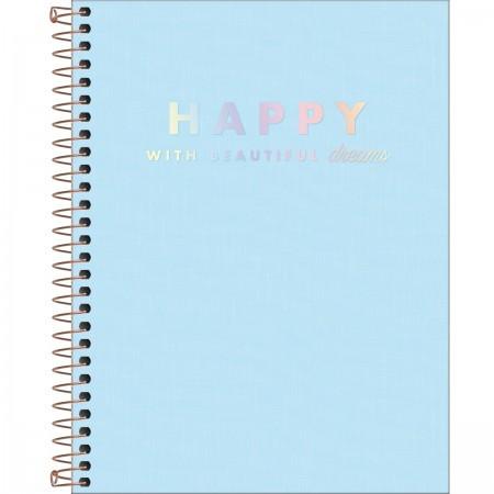 Caderno Colegial C/D 10 Materias 160 Folhas Happy Azul Tilibra