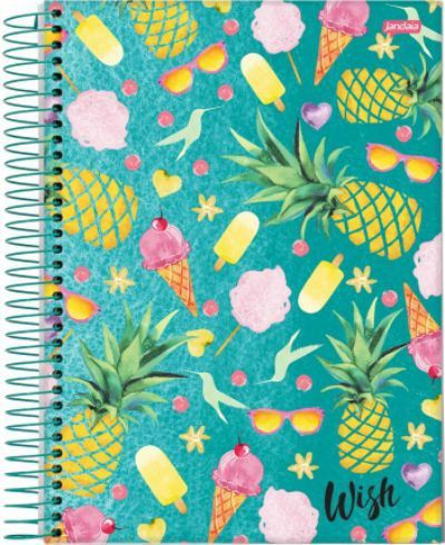 Caderno Espiral 10 Materias 200 Folhas Wish Jandaia