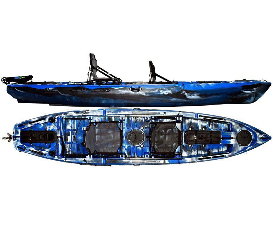 Caiaque Caiman 135 Duos Hidro2 Eko Pesca E Recreação  Com Leme Azul E Preto