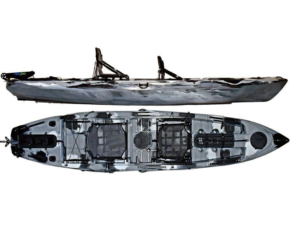 Caiaque Caiman 135 Duos Hidro2 Eko Pesca E Recreação  Com Leme Camuflado Cinza