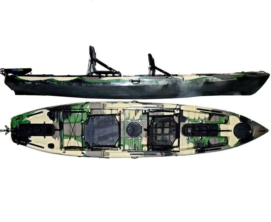 Caiaque Caiman 135 Duos Hidro2 Eko Pesca E Recreação  Com Leme Camuflado Verde