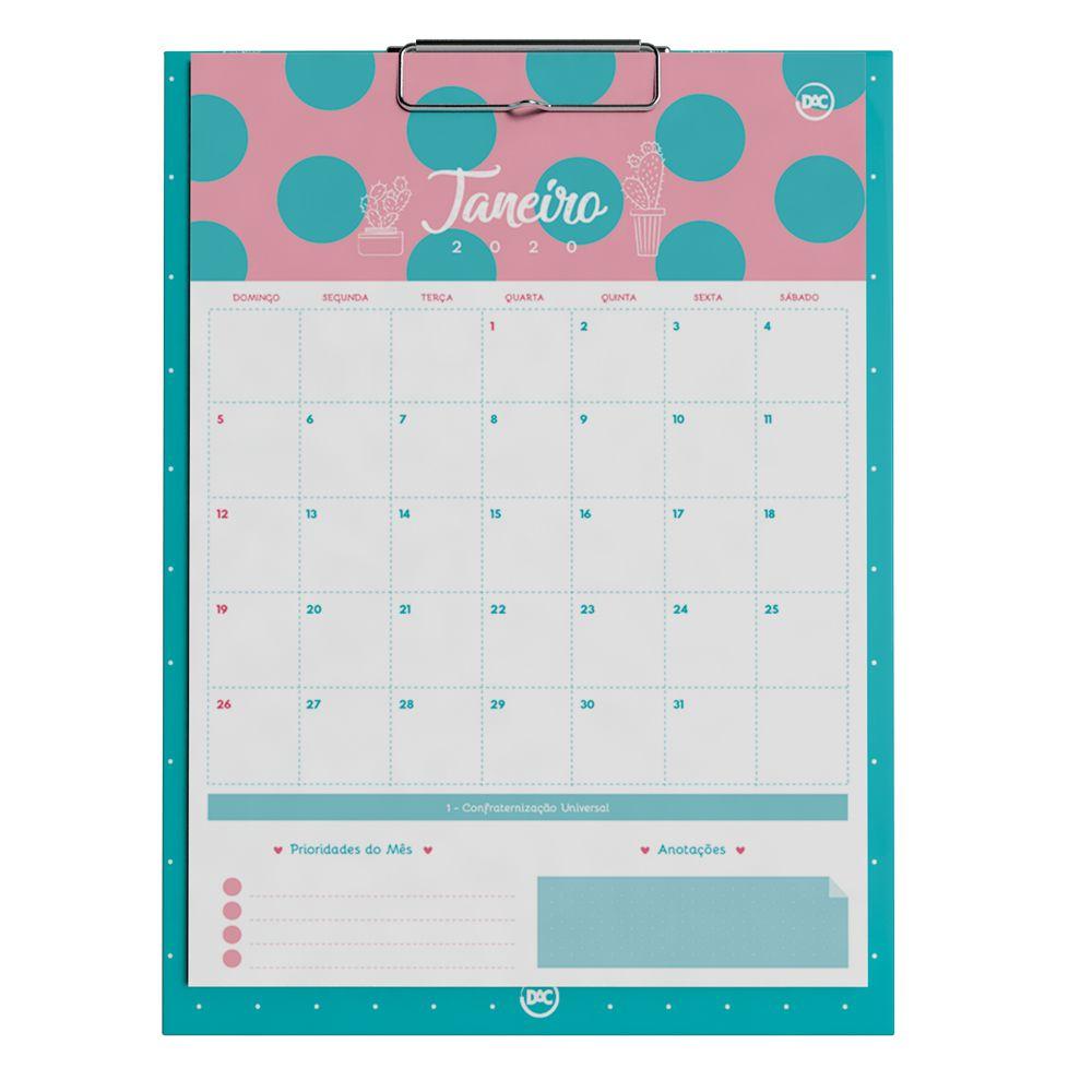 Calendario Planner 12 Folhas Cactus Dac