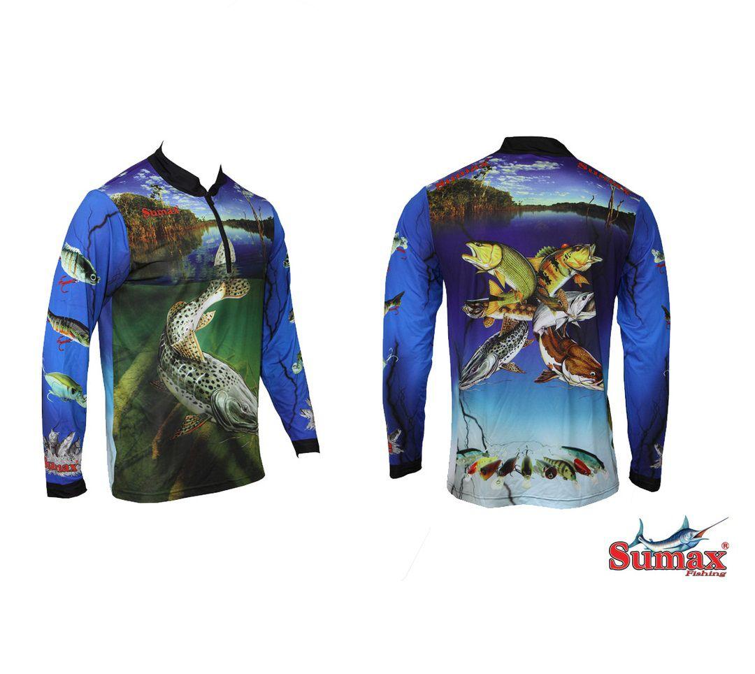 Camisa Camiseta Pesca Fibra De Menta Pintado Sumax Tamanho S